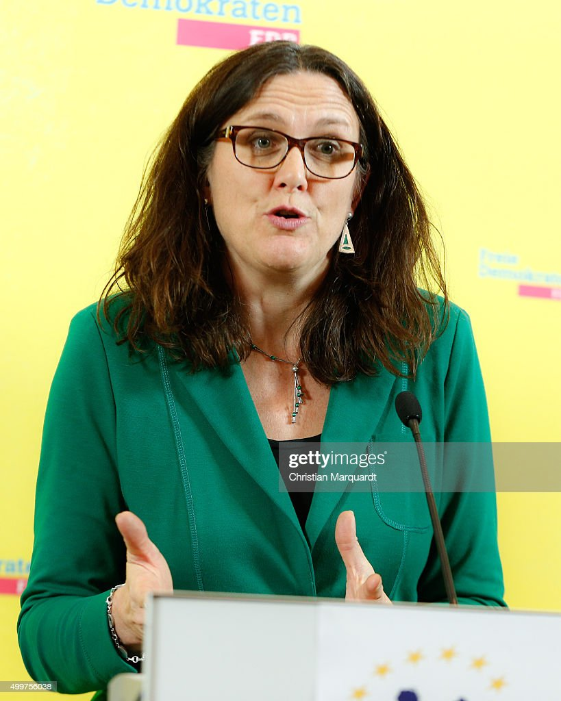 Cecilia Malmstrom, European Commissioner for Trade talks to the media during a press briefing about a new EU trade strategy which is part of the Transatlantic Trade and Investment Partnership Negotiations (TTIP) between European Union and U.S. at the FDP Headquarter on December 3, 2015 in Berlin, Germany.