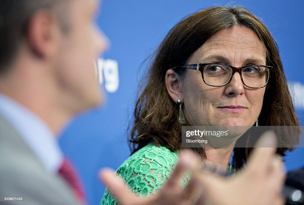 Cecilia Malmstrom, European Union (EU) trade commissioner, listens during a panel discussion on the Transatlantic Trade and Investment Partnership (TTIP) at the Atlantic Council in Washington, D.C., U.S., on Wednesday, June 29, 2016. Malmstroem said this week the EU will pursue its trade talks with the U.S. and other partners even as the U.K. negotiates an exit from the bloc. Photographer: Andrew Harrer/Bloomberg via Getty Images