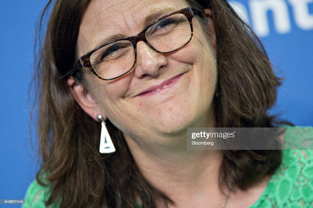 Cecilia Malmstrom, European Union (EU) trade commissioner, smiles during a panel discussion on the Transatlantic Trade and Investment Partnership (TTIP) at the Atlantic Council in Washington, D.C., U.S., on Wednesday, June 29, 2016. Malmstroem said this week the EU will pursue its trade talks with the U.S. and other partners even as the U.K. negotiates an exit from the bloc. Photographer: Andrew Harrer/Bloomberg via Getty Images