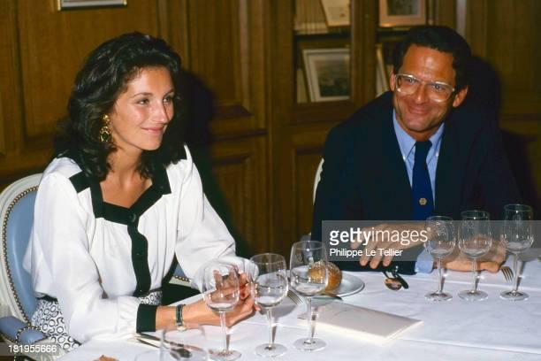 Cecilia Martin future Mrs Nicolas Sarkozy with JeanPaul Baudecroux at dinner in 1988 Paris France Cecilia Martin future madame Nicolas Sarkosy avec...