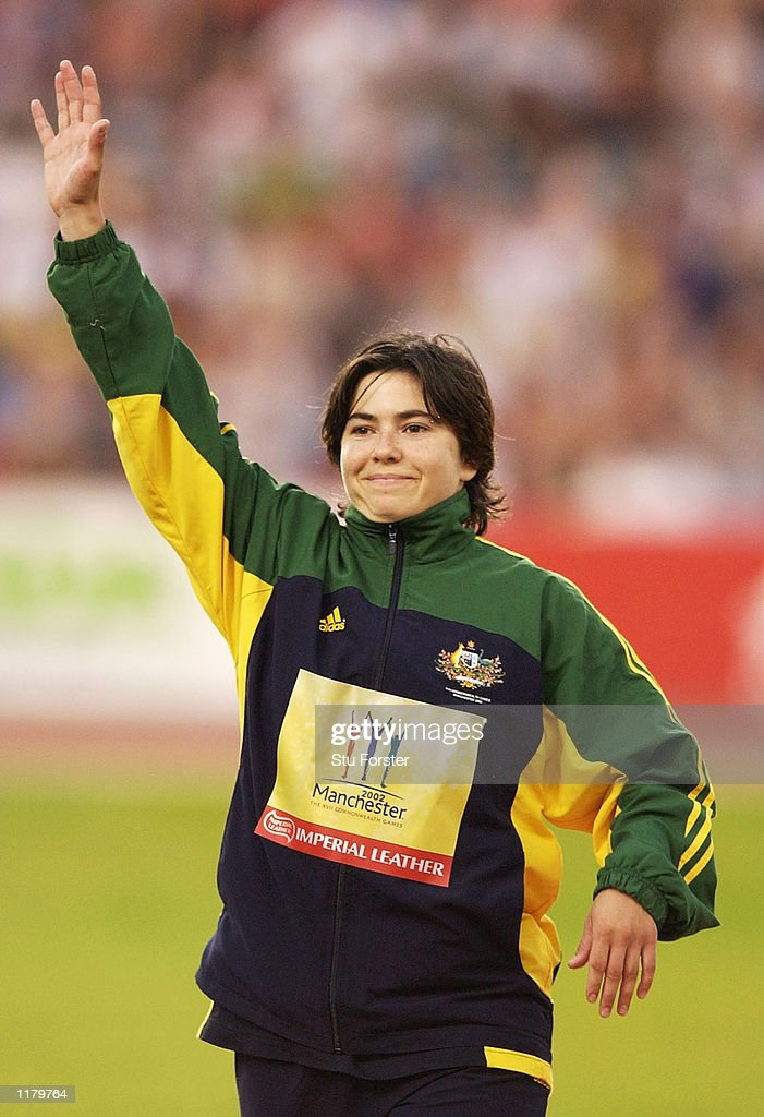 Cecilia McIntosh of Australia celebrates after winning silver in the Women's Javelin final at the City of Manchester Stadium during the 2002 Commonwealth Games in Manchester, England on July 29, 2002.