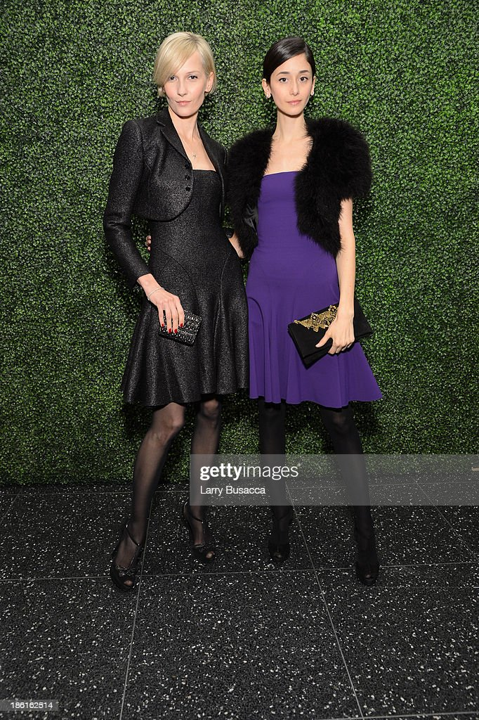 Cecilia Mendez and Katia Kokoreva arrive as Ralph Lauren Presents Exclusive Screening Of Hitchcock's To Catch A Thief Celebrating The Princess Grace Foundation at MoMA on October 28, 2013 in New York City.