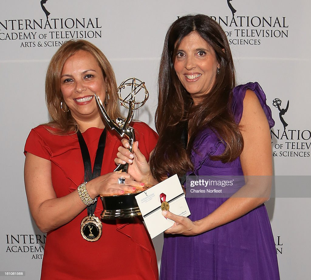 Cecilia Mendonca (L) and Maria Laura Moure (R) from Argentina with the Kids: Preschool Emmy Award for 'El Jardin de Clarilu' attend The Inaugural International Emmy Kids Awards at The Lighthouse at Chelsea Piers on February 8, 2013 in New York City.