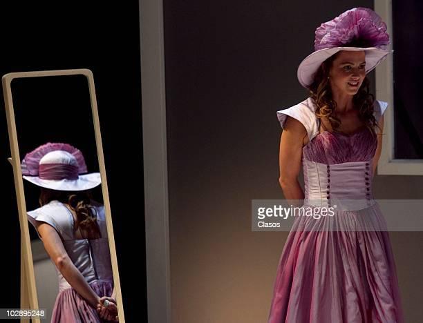 Cecilia Ponce in action during the Cinco Mujeres Usando el Mismo Vestido presentation at Telon de Asfalto Theater on July 13 2010 in Mexico City...