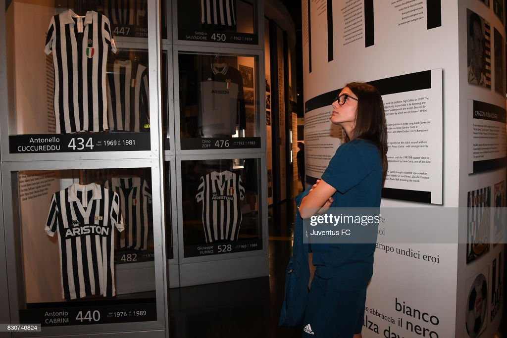 Cecilia Salvai of Juventus Women looks on during a visit to the Club's Museum on August 12, 2017 in Turin, Italy.