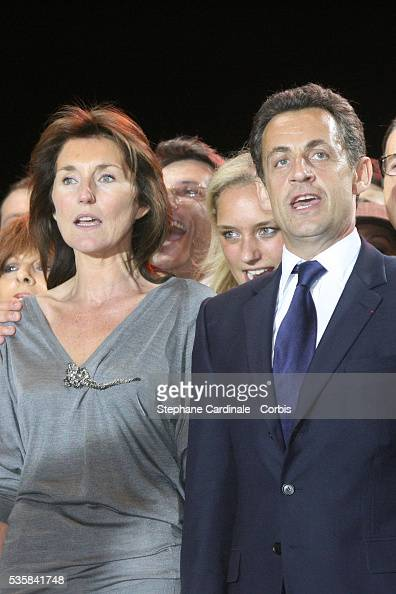 Cecilia Sarkozy and husband Union for a Popular Movement party leader and president elect Nicolas Sarkozy attend the concert celebrating the victory...