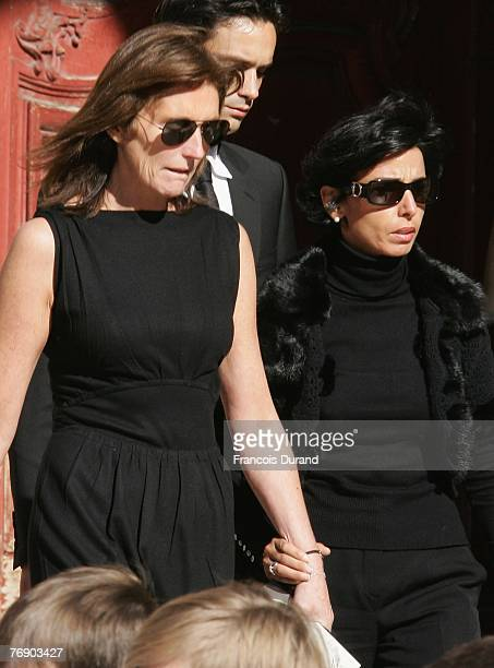 Cecilia Sarkozy Gurvan Rallon and Rachida Dati leave the SaintJean Cathedral of Lyon after Jacques Martin funeral ceremony held on September 20 2007...