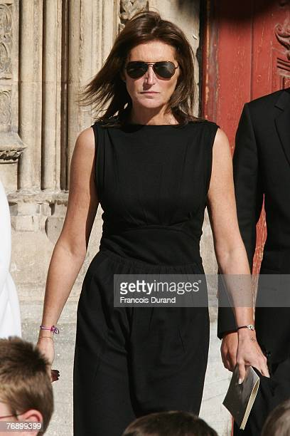 Cecilia Sarkozy leaves the SaintJean Cathedral of Lyon after Jacques Martin funeral ceremony held on September 20 2007 Lyon FRANCE Television...
