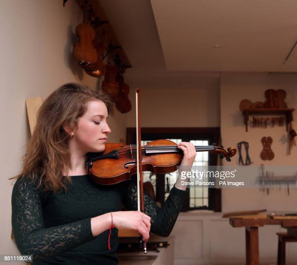 Cecilia Stinton who is a Oxford music graduate and works at the museum plays a Beechback Stradivarius at the new Stradivarius exhibition at the...
