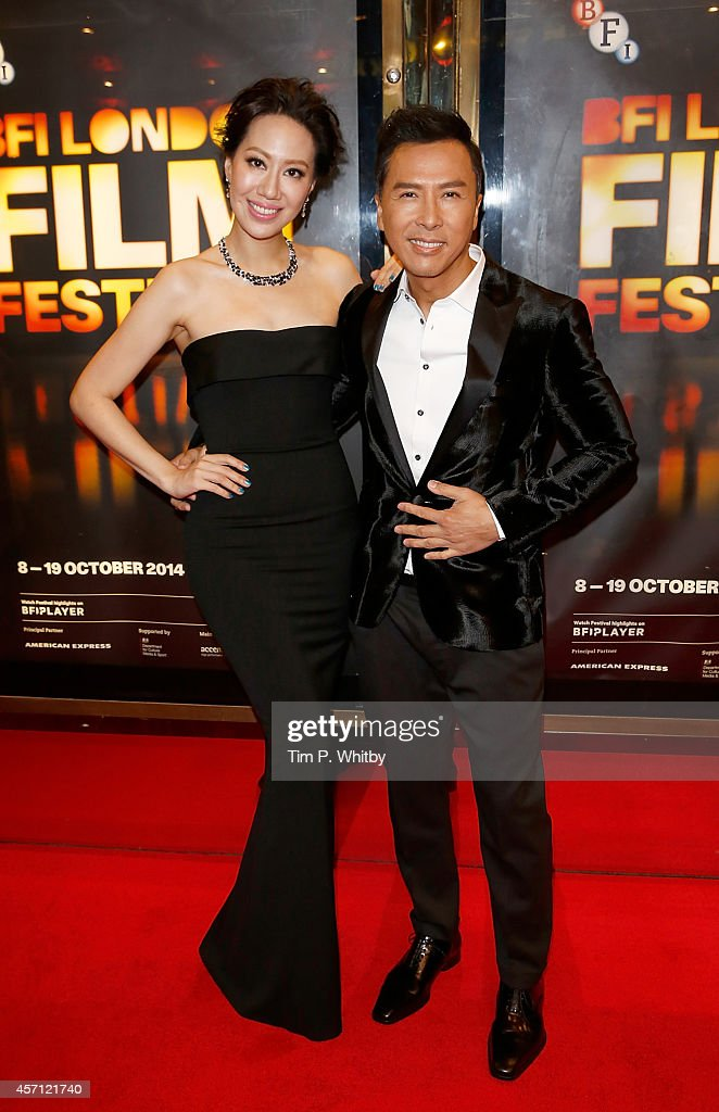 Cecilia Wang and Donnie Yen attend the red carpet arrivals of 'Kung Fu Jungle' during the 58th BFI London Film Festival at Empire Leicester Square on...