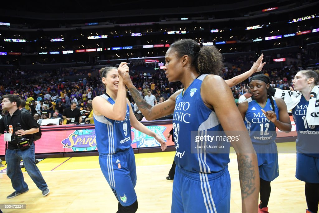 Cecilia Zandalasini #9 and Rebekkah Brunson #32 of the Minnesota Lynx shake hands after defeating the Los Angeles Sparks in Game Four of the 2017 WNBA Finals on October 1, 2017 at the STAPLES Center in Los Angeles, California.