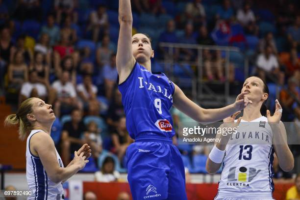 Cecilia Zandalasini of Italy in action against Anna Jurcenkova of Slovakia during the 2017 FIBA EuroBasket Women qualifications match between...