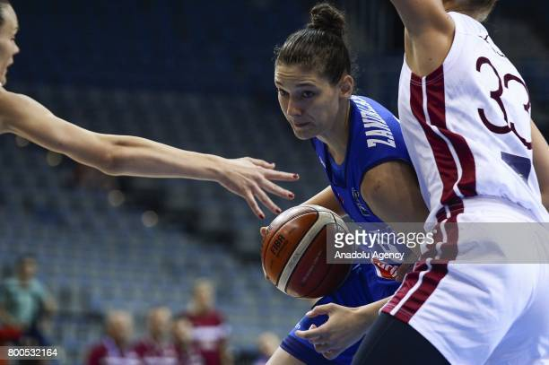 Cecilia Zandalasini of Italy in action against Kitija Laksa of Latvia during the 2017 FIBA EuroBasket Women qualifications between Latvia and Italy...