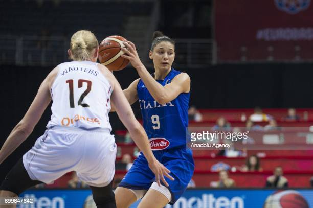 Cecilia Zandalasini of Italy in action againstAnn Wauters of Belgium during the 2017 FIBA EuroBasket Women quarter finals between Belgium and Italy...