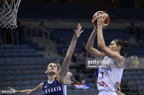 Cecilia Zandalasini of Italy in action during the 2017 FIBA EuroBasket Women qualifications 7 to 8 between Italy and Slovakia at Prague Arena in...