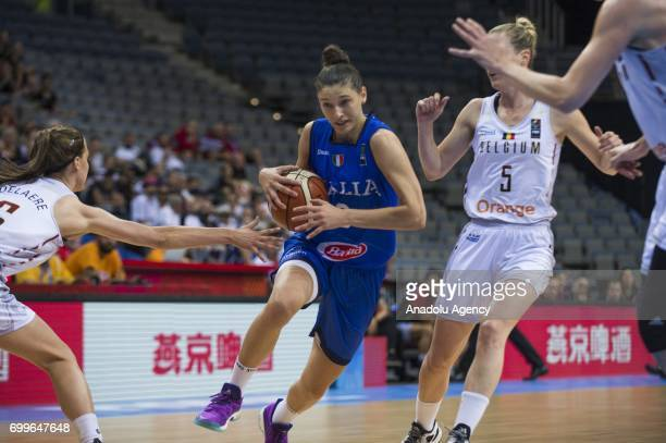 Cecilia Zandalasini of Italy in action during the 2017 FIBA EuroBasket Women quarter finals between Belgium and Italy at Prague Arena in Prague Czech...