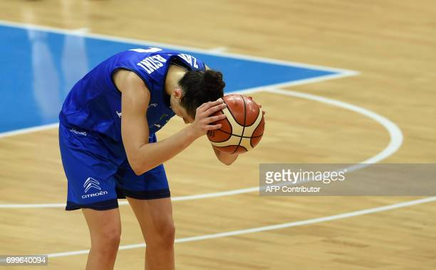 Cecilia Zandalasini of Italy reacts during the FIBA EuroBasket 2017 women's quarterfinal match between Belgium and Italy on June 22 2017 in Prague...
