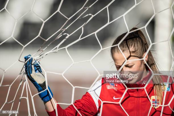 Cecilie Fiskerstrand of Norway before the International Friendly match between Norway v Switzerland at Skagerak Arena on April 10 2017 in Skien Norway