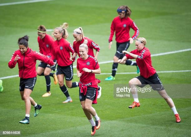 Cecilie Sandvej of Denmark and the team warms up during a training prior UEFA Women's Euro 2017 Final against Netherlands at De Grolsch Veste Stadium...