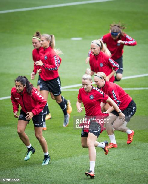 Cecilie Sandvej of Denmark Nadia Nadim and the team warms up during a training prior UEFA Women's Euro 2017 Final against Netherlands at De Grolsch...