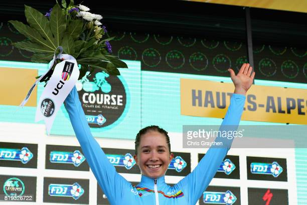 Cecilie Uttrup Ludwig of Denmark and Cervelo Bigla Pro Cycling Team is presented with the jersey for leading the UCI Women's WorldTour Youth ranking...