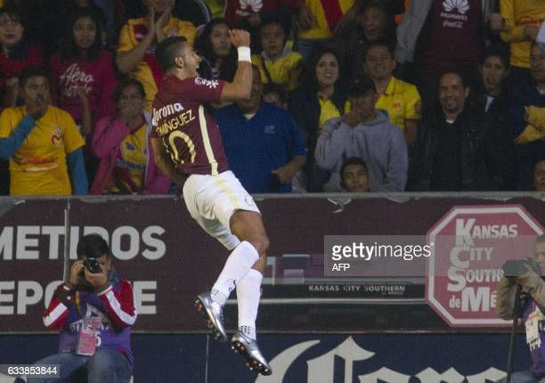 Cecilio Dominguez of America celebrates after scoring a goal against Morelia during their Mexican Clausura 2017 Tournament football match at the...