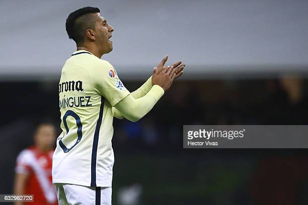 Cecilio Dominguez of America celebrates after scoring the first goal of his team during the 4th round match between America and Veracruz as part of...