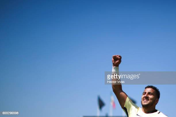 Cecilio Dominguez of America celebrates after winning the 11th round match between Pumas UNAM and America as part of the Torneo Clausura 2017 Liga MX...