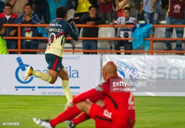 Cecilio Dominguez of America celebrates his goal against Pachuca during their Mexican Apertura 2017 Tournament football match at Hidalgo stadium on...