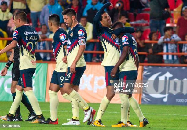 Cecilio Dominguez of America celebrates his goal with his teammates during their Mexican Apertura 2017 Tournament football match at Hidalgo stadium...