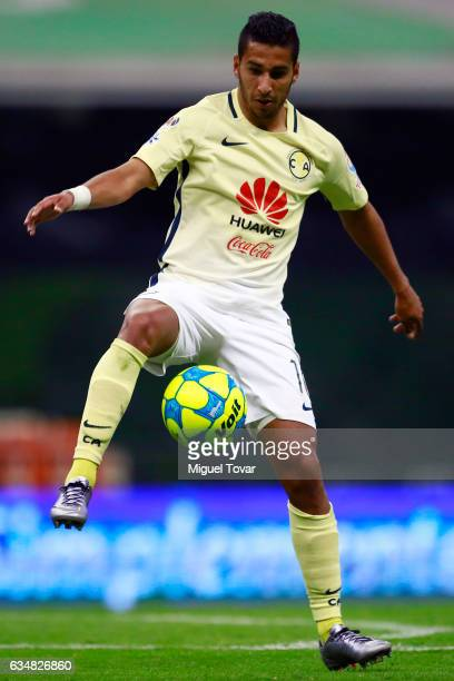 Cecilio Dominguez of America controls the ball during the 6th round match between America and Puebla as part of the Torneo Clausura 2017 Liga MX at...