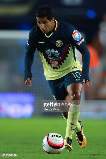 Cecilio Dominguez of America drives the ball during the 2nd round match between Pachuca and America as part of the Torneo Apertura 2017 Liga MX at...