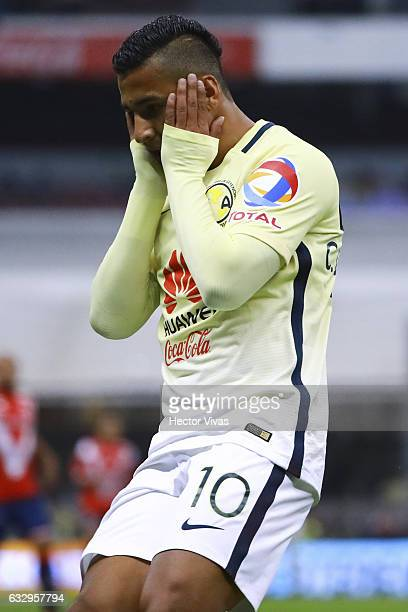 Cecilio Dominguez of America reacts during the 4th round match between America and Veracruz as part of the Torneo Clausura 2017 Liga MX at Azteca...