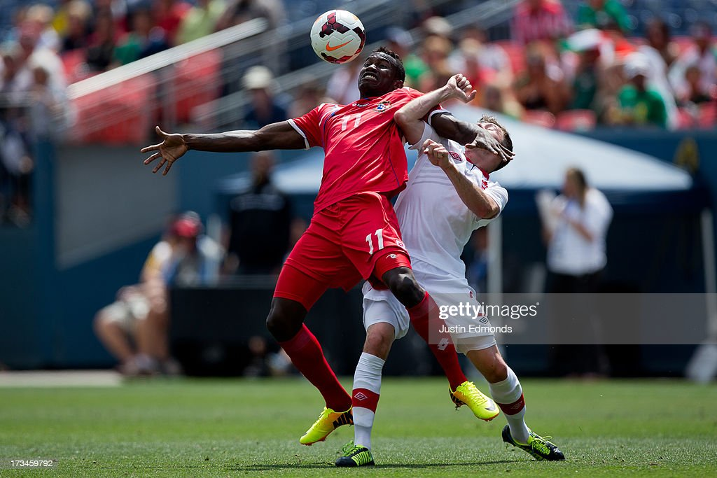 Cecilio Waterman #11 of Panama tries to control the ball with his chest away from <a gi-track='captionPersonalityLinkClicked' href=/galleries/search?phrase=Nikolas+Ledgerwood&family=editorial&specificpeople=787689 ng-click='$event.stopPropagation()'>Nikolas Ledgerwood</a> #2 of Canada during the second half of a CONCACAF Gold Cup match at Sports Authority Field at Mile High on July 14, 2013 in Denver, Colorado. Canada and Panama played to a 0-0 draw.