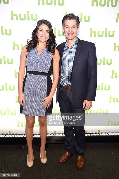 Cecily Strong and CEO of Hulu Mike Hopkins attend Hulu's Upfront Presentation on April 30 2014 in New York City