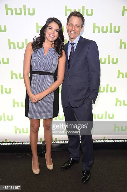 Cecily Strong and Seth Meyers attend Hulu's Upfront Presentation on April 30 2014 in New York City