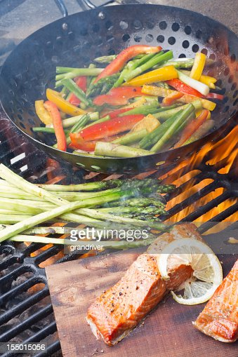 Cedar Plank Salmon Filets and Grilled Veggies