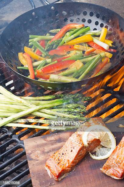 Cedar Plank Salmon Filets and Grilled Veggies