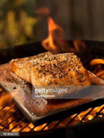 Cedar Plank Salmon Fillet on an outdoor BBQ
