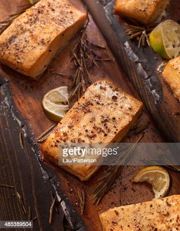Cedar Plank Salmon fillets hot off the BBQ