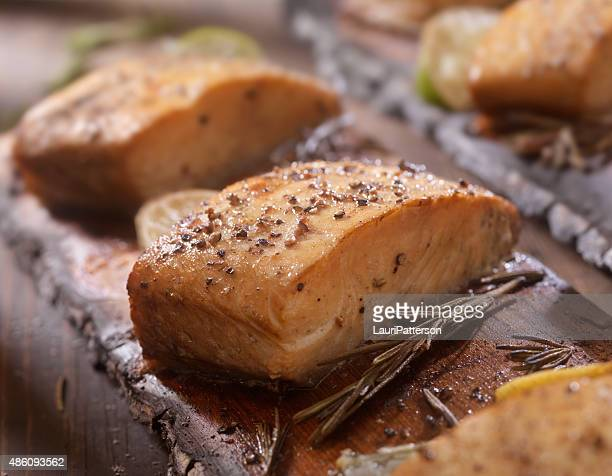 Cedar Plank Salmon fillets hot off the BBQ