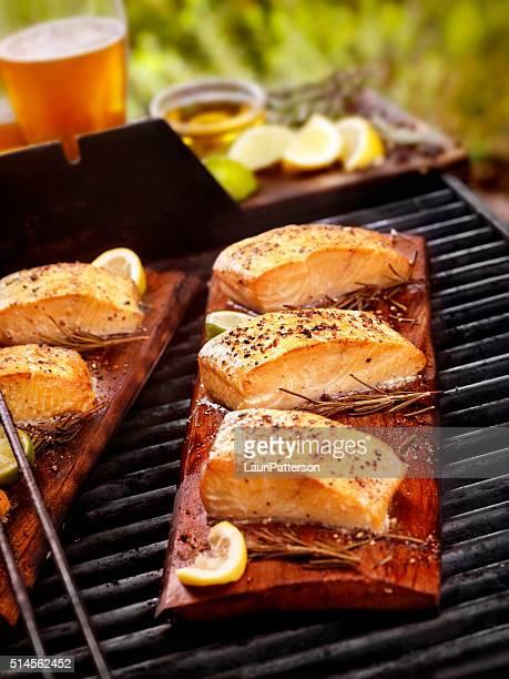 Über Zedernholz gegrilltem Lachs-Filets auf ein Barbecue im Freien