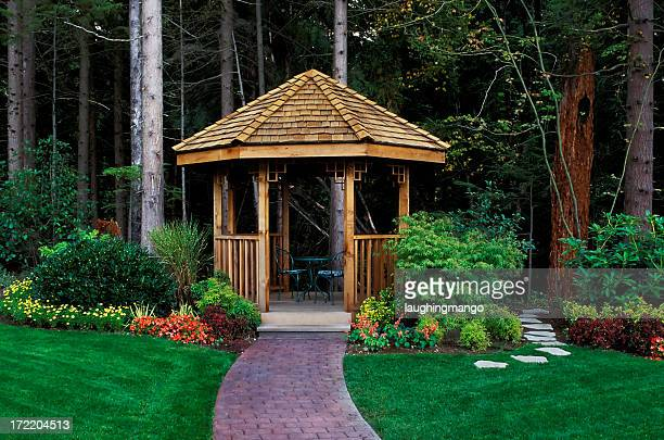 cedar wood gazebo back yard garden