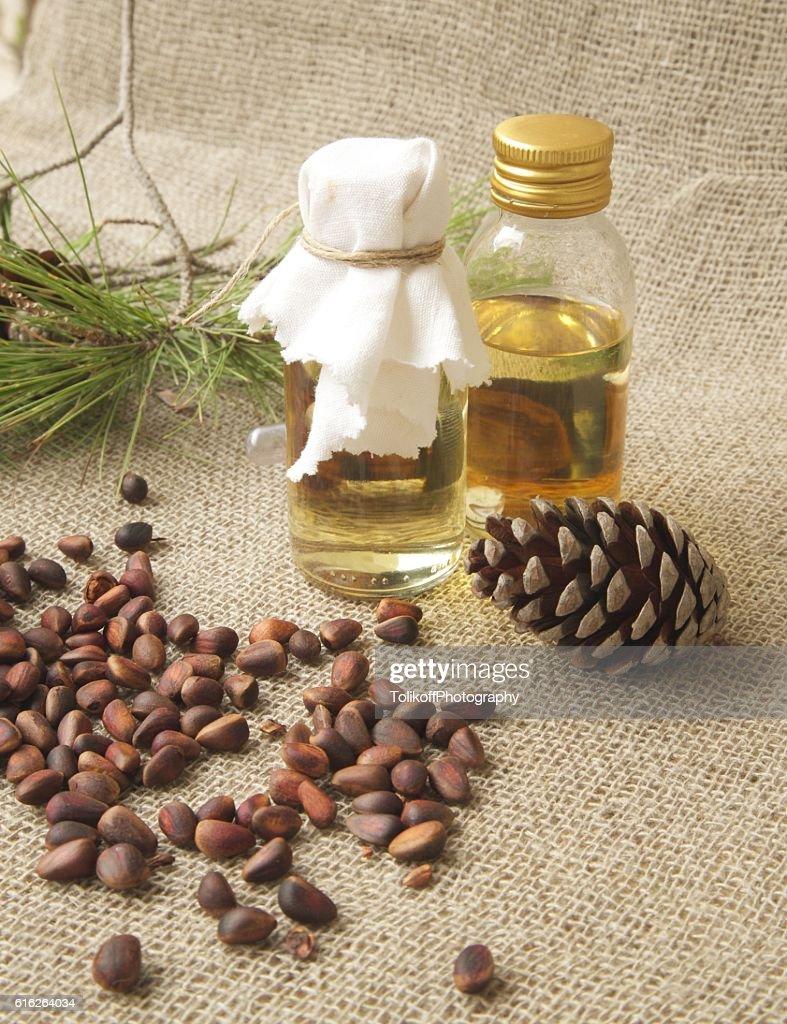 Cedar wood oil. : Stock Photo