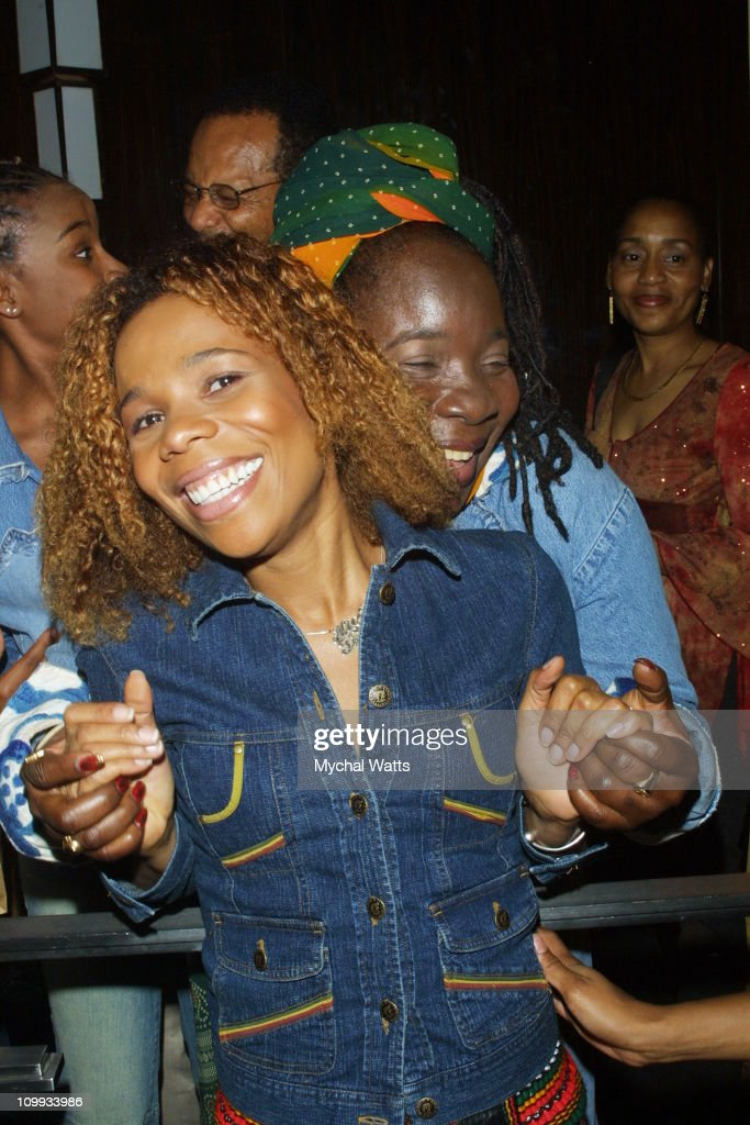 Cedella Marley and <a gi-track='captionPersonalityLinkClicked' href=/galleries/search?phrase=Rita+Marley&family=editorial&specificpeople=745253 ng-click='$event.stopPropagation()'>Rita Marley</a> during MercedesBenz Fashion Week Spring Collections 2003 - Cedella Marley Catch-a-Fire - Runway and Backstage Fashion Show at Eugene's in New York City, New York, United States.