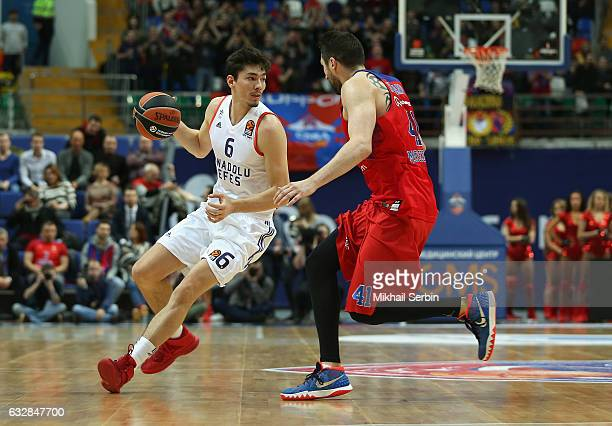 Cedi Osman #6 of Anadolu Efes Istanbul competes with Nikita Kurbanov #41 of CSKA Moscow in action during the 2016/2017 Turkish Airlines EuroLeague...