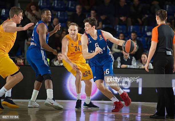 Cedi Osman #6 of Anadolu Efes Istanbul in action during the 2016/2017 Turkish Airlines EuroLeague Regular Season Round 18 game between FC Barcelona...