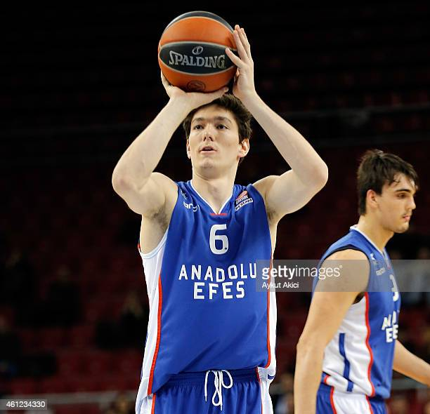 Cedi Osman #6 of Anadolu Efes Istanbul in action during the Euroleague Basketball Top 16 Date 2 game between Anadolu Efes Istanbul v Unicaja Malaga...
