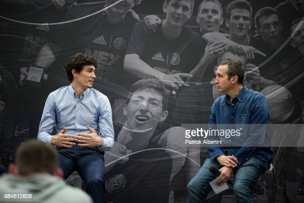 Cedi Osman and David Blatt during the 2017 Euroleague Basketball ANGT Players Educational Session at Sinan Erdem Dome on May 18 2017 in Istanbul...