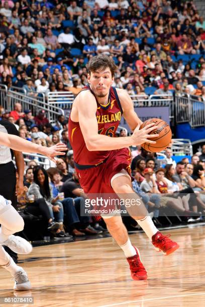 Cedi Osman of the Cleveland Cavaliers handles the ball against the Orlando Magic during the preseason game on October 13 2017 at Amway Center in...